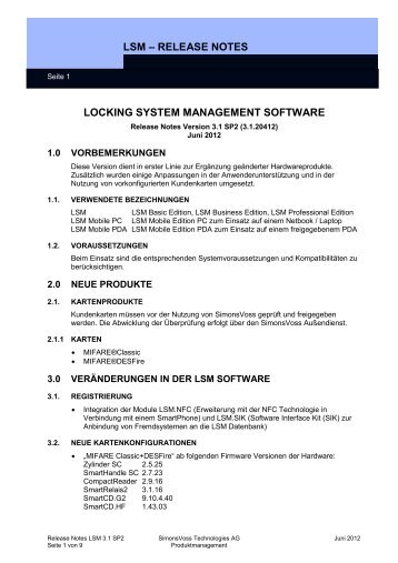 Release Notes LSM 3.1 SP2 - SimonsVoss technologies