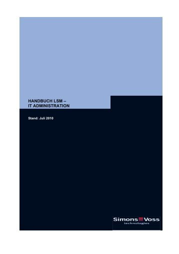 handbuch lsm ? it administration - SimonsVoss technologies