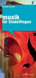 Programmheft 2010/11 - bei der Stadt Sindelfingen