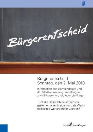 Bürgerentscheid Sonntag, den 2. Mai 2010 - bei der Stadt ...