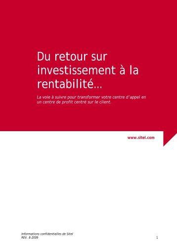 Du retour sur investissement à la rentabilité… - Sitel
