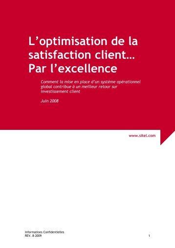 L'optimisation de la satisfaction client… Par l'excellence ... - Sitel