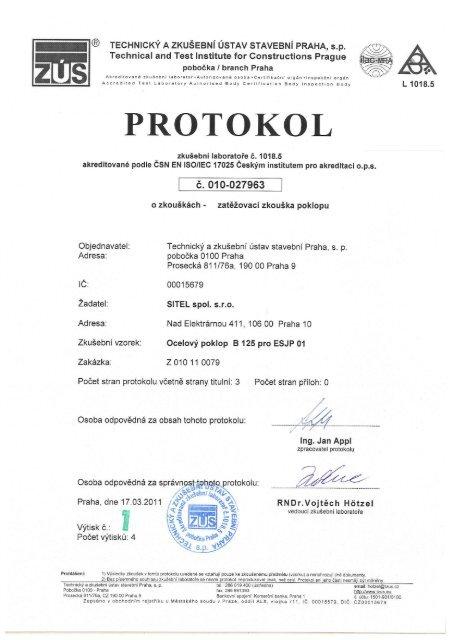 Zkušební protokol - Sitel
