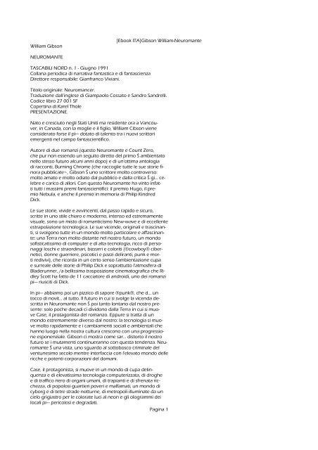 [Ebook ITA]Gibson William-Neuromante - Blocco ... - Autistici/Inventati