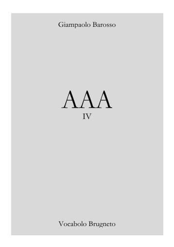 AAA vol. IV - giampaolo barosso