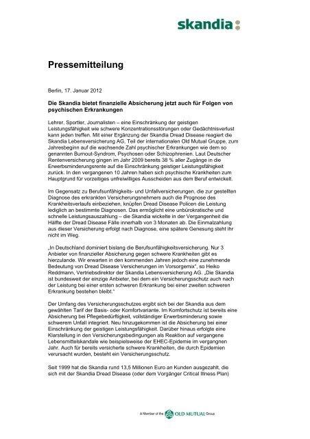 Pressemitteilung - Skandia Lebensversicherung AG