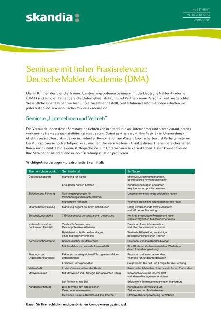 Seminarthemen Deutsche Makler Akademie