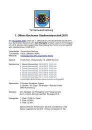 Turnierausschreibung 1. Offene Bochumer Stadtmeisterschaft 2010