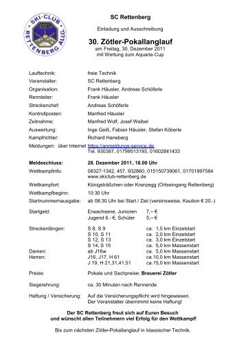 30. Zötler-Pokallanglauf - Skiclub Rettenberg