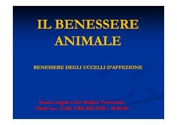 IL BENESSERE IL BENESSERE ANIMALE