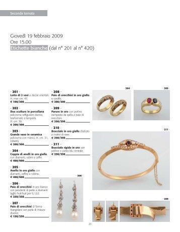 Giovedì 19 febbraio 2009 Ore 15.00 Etichette bianche (dal n° 201 al ...