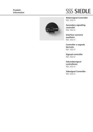 information Nebensignal-Controller NSC 602-0 Secondary ... - Siedle