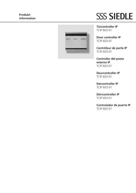 Produkt Information Türcontroller Ip Tcip 603 01 Door