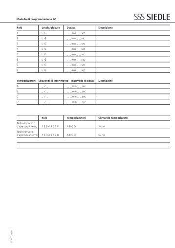 EC 602-... Modello di programmazione - Siedle