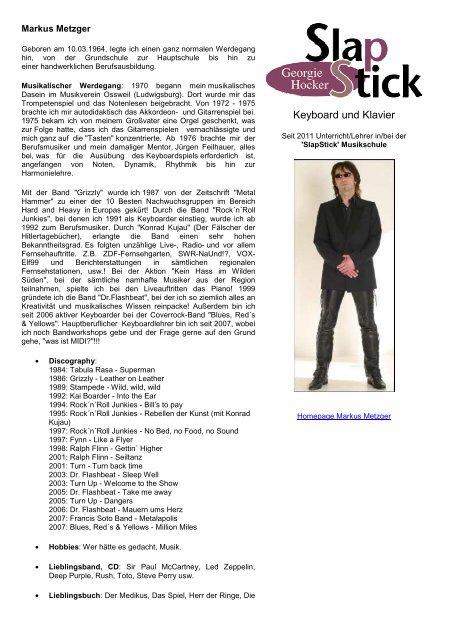 Info Vita Musikalischer Lebenslauf Slapstick