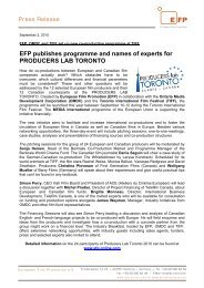 EFP publishes programme and names of ... - European Film Promotion