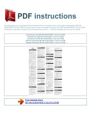 30s scientific calculator - ISTRUZIONI PDF