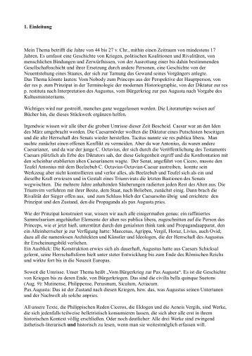 1. Einleitung Mein Thema betrifft die Jahre von 44 bis 27 v. Chr ...