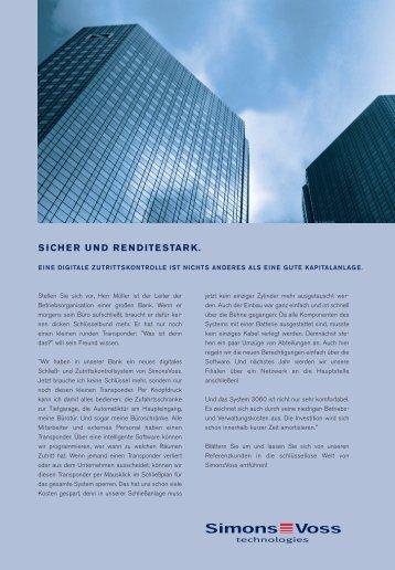 SICHER UND RENDITESTARK. - SimonsVoss technologies