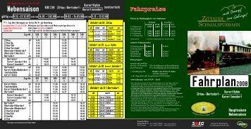 Fahrplan 2008 - Zittauer Schmalspurbahn