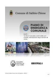 Comune di Sabbio Chiese: Piano di Emergenza – PARTE 1 pag. 1