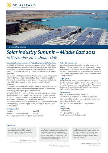 Solar Industry Summit – Middle East 2012 14 ... - Solarpraxis