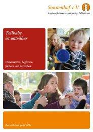 Bericht zum Jahr 2011 [PDF] - Sonnenhof eV Schwäbisch Hall