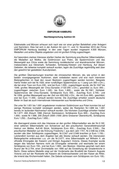 EMPORIUM HAMBURG Nachbesprechung Auktion 64 Edelmetalle ...