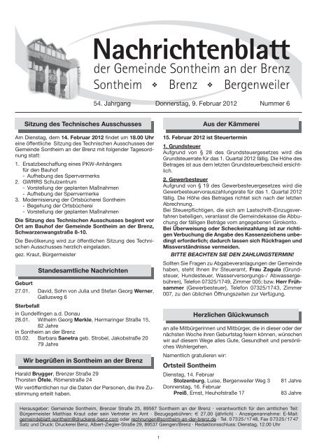 Gemeinde sontheim brenz öffnungszeiten