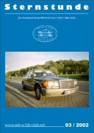 S ternstunde S ternstunde - Mercedes-Benz S-Klasse Club eV