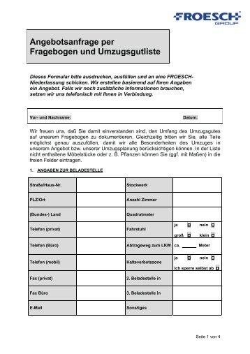 Angebotsanfrage per Fragebogen und ... - FROESCH Umzug