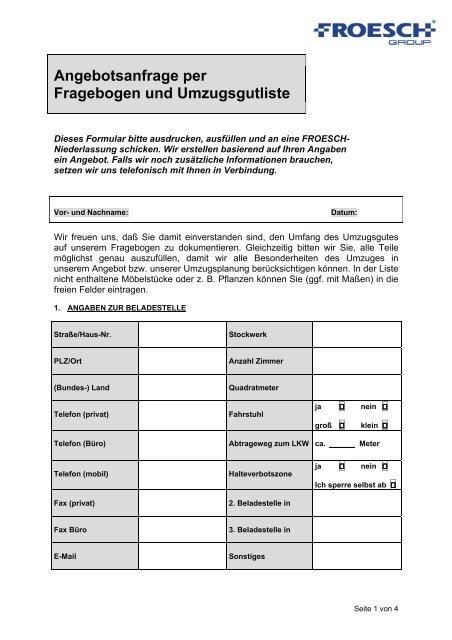 Angebotsanfrage Per Fragebogen Und Froesch Umzug