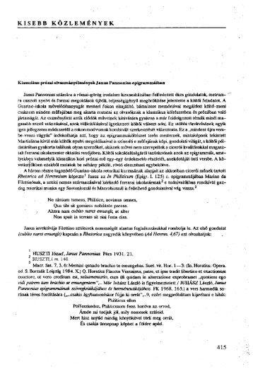 Klasszikus prózai olvasmányélmények Janus Pannonius ...