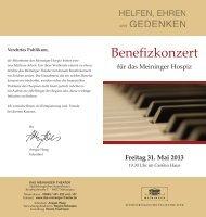 Flyer Benefizkonzert - Sozialwerk Meiningen