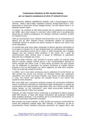 Mi chiamo Rodolfo Marusi Guareschi, nato a Salsomaggiore Terme ...