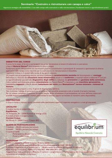 Costruire e ristrutturare con canapa e calce - Modulo 2 - Equilibrium