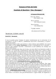 """Comune di Palo del Colle Comitato di Quartiere """" San. Giuseppe """""""