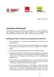 Gemeinsamer Antrag zum Haushalt 2012/2013 - SPD Velbert
