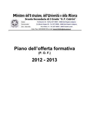 """POF2012-2013 sito - Scuola Media Statale """"SF Cabrini"""""""