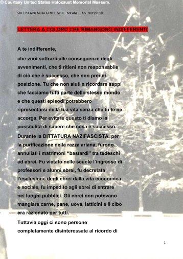 Clicca qui per leggere la lettera - ITST Artemisia Gentileschi