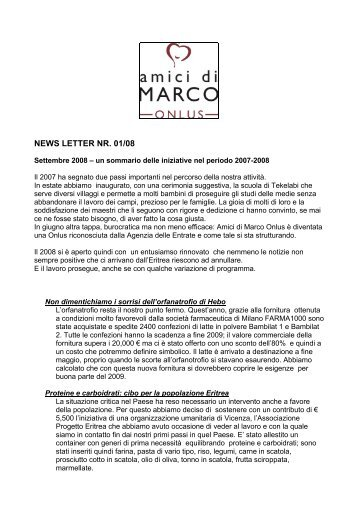 Newsletter 01/08 - Amici di Marco Onlus