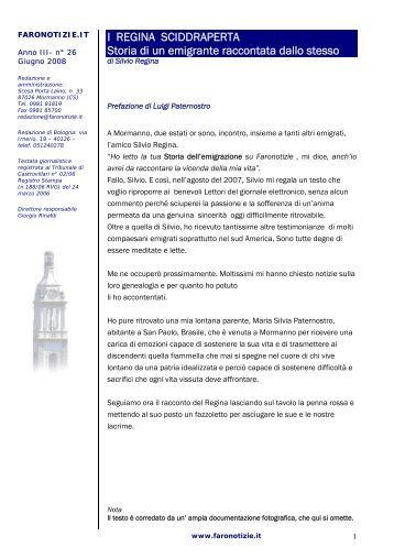 I REGINA SCIDDRAPERTA Storia di un emigrante ... - Faronotizie.it