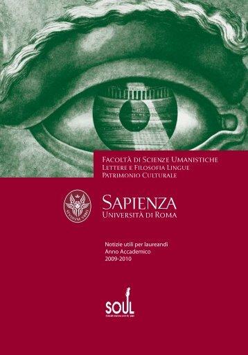 Notizie utili per laureandi - Facoltà di Scienze Umanistiche - Sapienza
