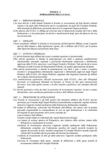 Regolamento Organico Federale - Sport Evolution