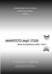 ALLEGATO: Il Manifesto degli studi 2012/13 - Conservatorio di Verona