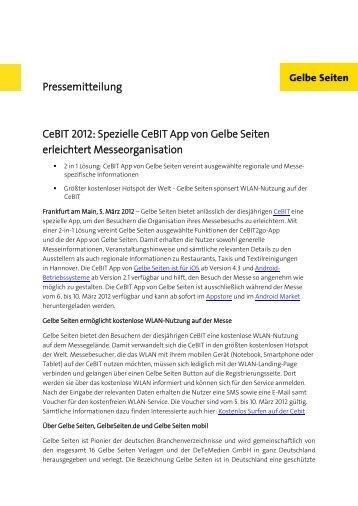 CeBIT 2012: Spezielle CeBIT App von Gelbe Seiten