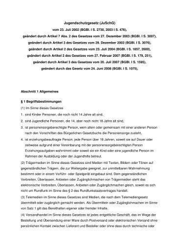 Jugendschutzgesetz JuSchG Stand 1. Juli 2008 Fliesstext ... - SPIO