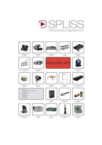 Mietpreisliste 2013 - SPLISS Veranstaltungstechnik