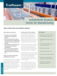 webMethods Business Events for Manufacturing - Software AG