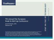 7th Annual Pan European Small & Mid Cap Conference - Software AG